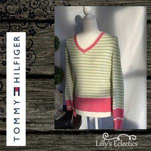 Tommy Hilfiger Mint Stripe W/ Pink Accents Sweater